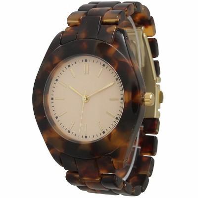 Olivia Pratt Tortoise Shell Bracelet Clasp Watch
