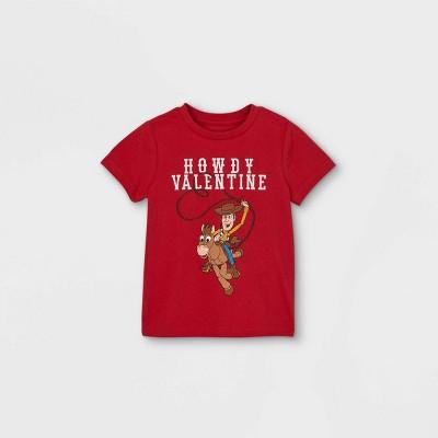 Toddler Boys' Toy Story 'Howdy Valentine' Valentine's Day Short Sleeve Graphic T-Shirt - Red