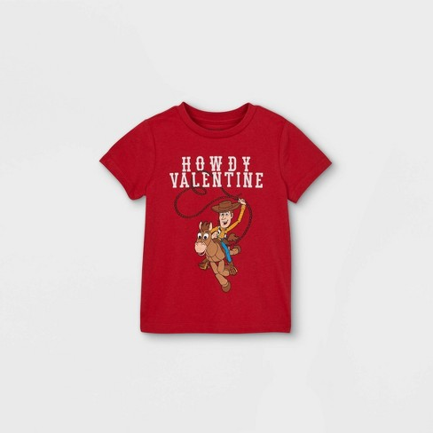 Toddler Boys' Toy Story 'Howdy Valentine' Valentine's Day Short Sleeve Graphic T-Shirt - Red - image 1 of 2