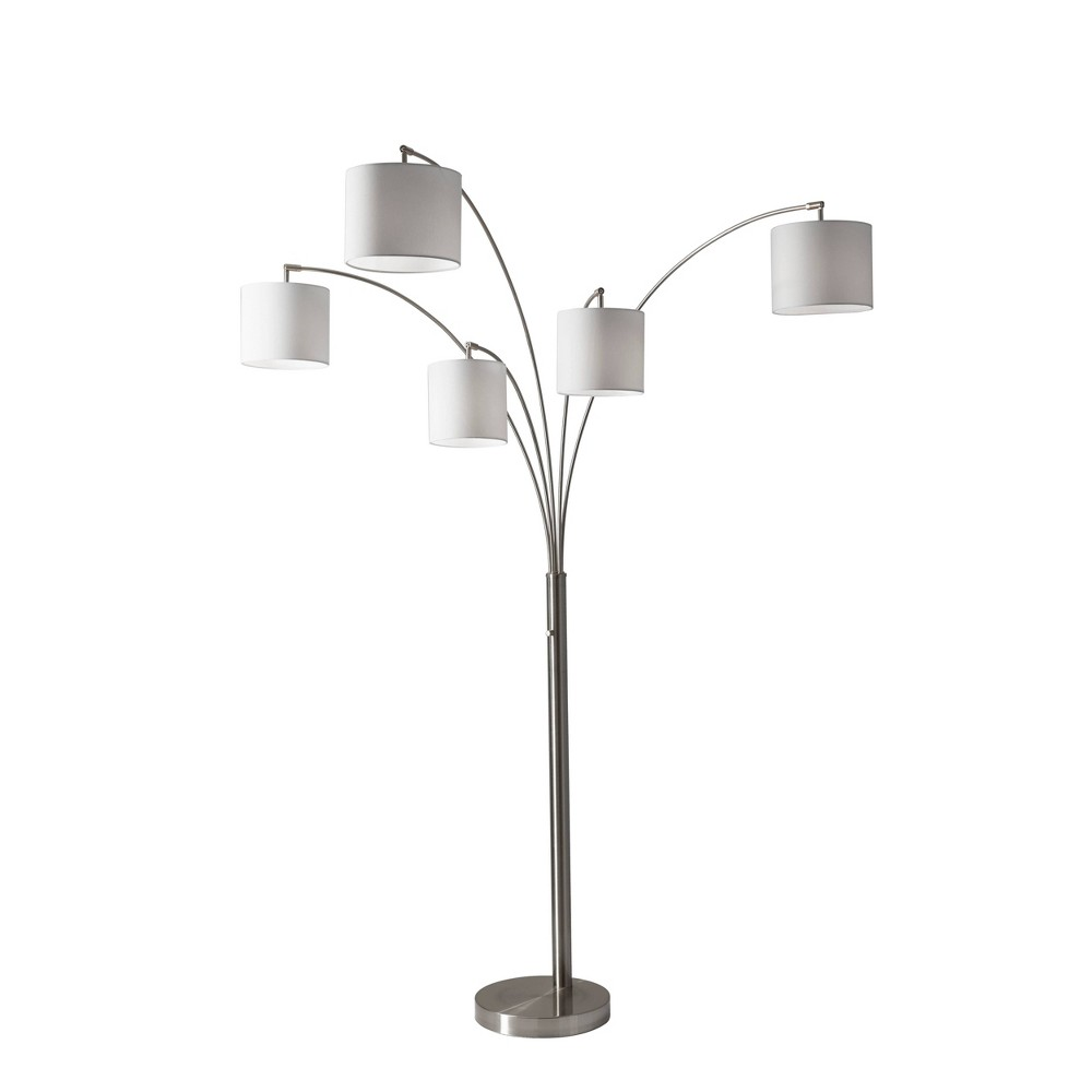 Image of Trinity 5-Arm Arc Lamp Steel - Adesso