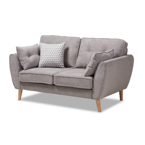 Astonishing Baxton Studio Miranda Mid Century Modern Fabric Upholstered Loveseat Light Gray Gmtry Best Dining Table And Chair Ideas Images Gmtryco