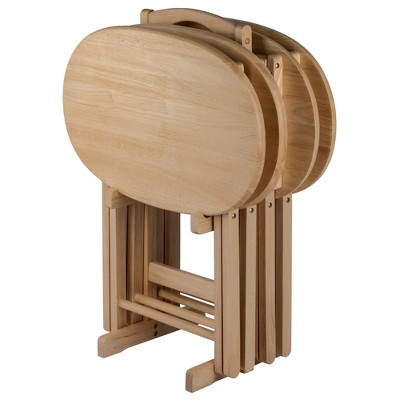 5pc Nathan Snack Table Set In Natural - Winsome