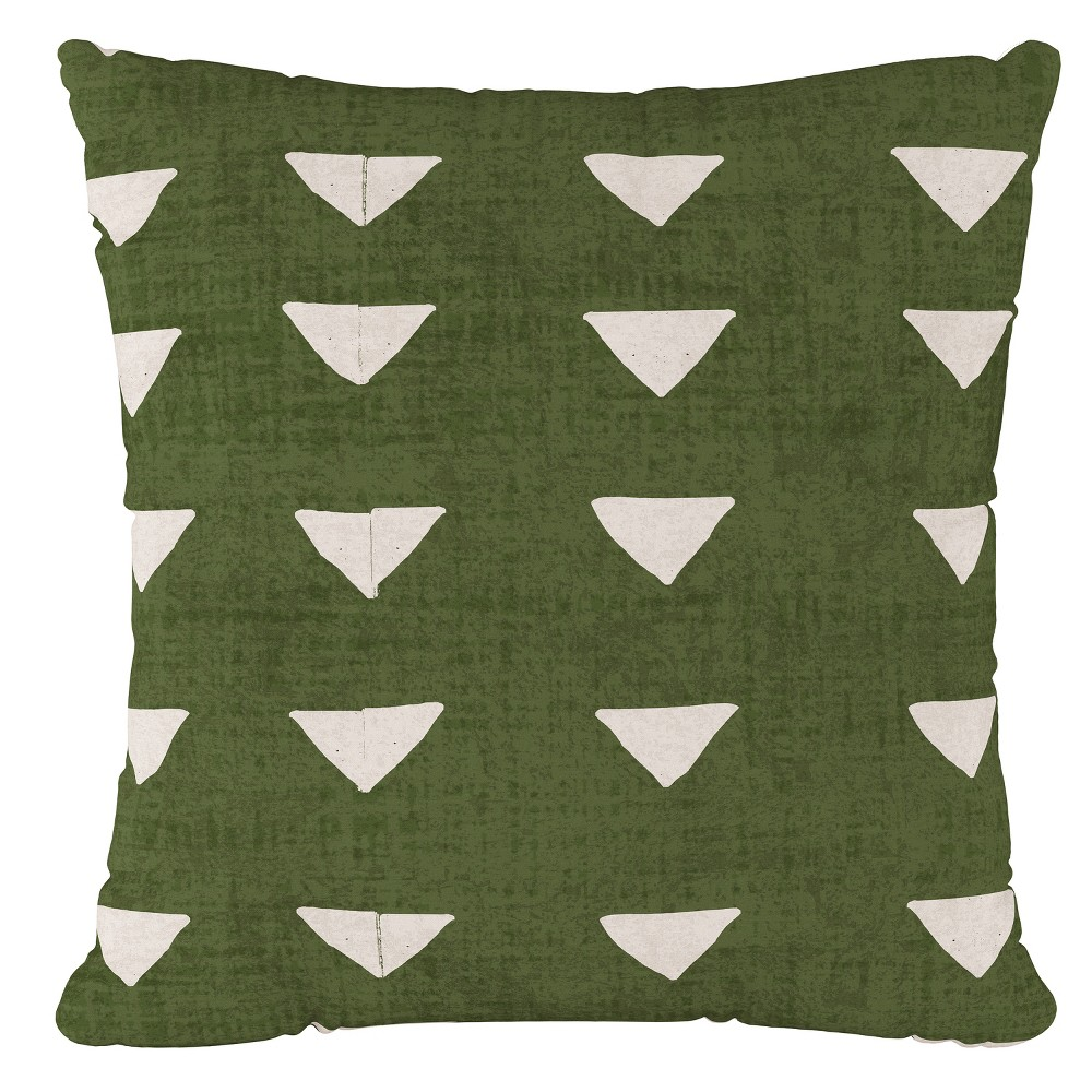 Image of Green Triangle Print Throw Pillow - Cloth & Co, Triangle Dark Green