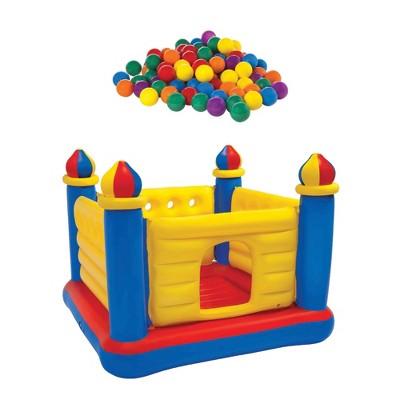 100-Pack Plastic Ballz Bundled w/ Inflatable Colorful Jump-O-Lene Bouncer