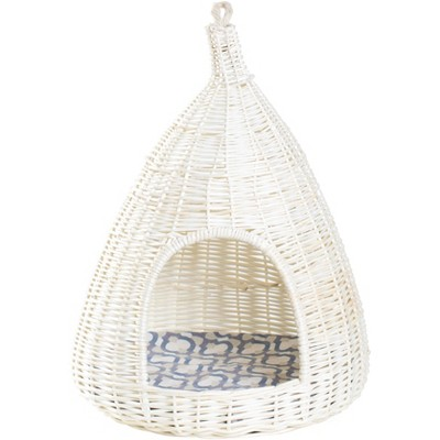 Natural Willow Pet Sleeping Bed, Cave, Basket For Dog or Cats with Cushion