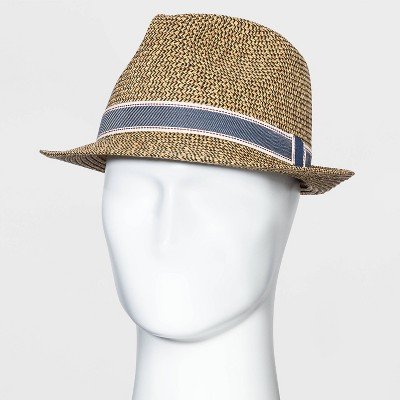 Men's Mixed Color Fedora Hat with Navy Band - Goodfellow & Co™ Brown M/L