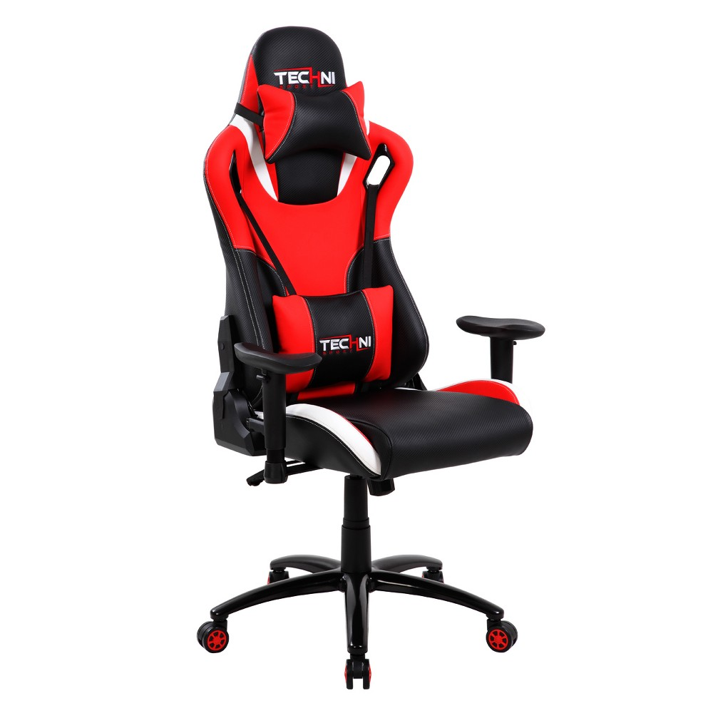 Image of Ergonomic High Back Racer Style Video Gaming Chair Red - Techni Sport