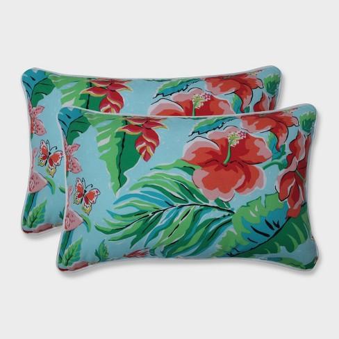2pk Tropical Paradise Rectangular Throw Pillows Blue - Pillow Perfect - image 1 of 1