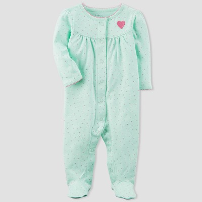 Baby Girls' Heart Sleep N' Play - little planet™ organic by carter's® Mint 6M