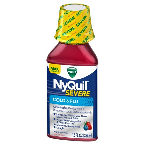 Vicks NyQuil Severe Cold & Flu Relief Liquid - Acetaminophen - Berry - 12 fl oz - image 1 of 4