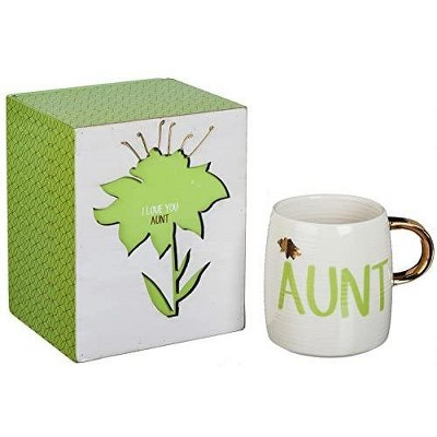 Cypress Home Box Sign & Ceramic Cup, Title Gift Set W/Metallic Accent, 12 Oz, I Love You Aunt