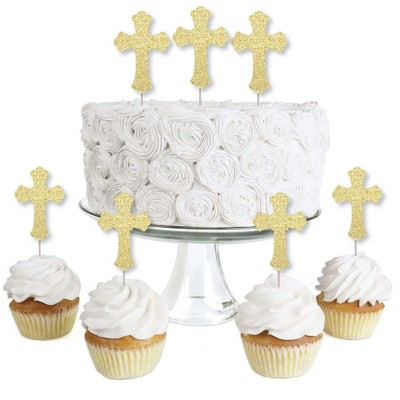 Big Dot of Happiness Gold Glitter Cross - No-Mess Real Gold Glitter Dessert Cupcake Toppers - Baptism or Baby Shower Clear Treat Picks - Set of 24