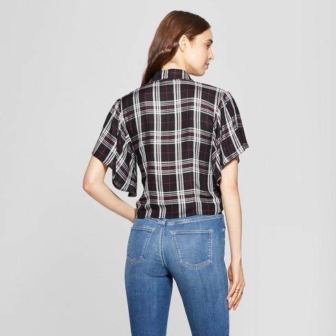 e8d69abad05 Women s Plaid Short Sleeve Tie Front Blouse - 3Hearts (Juniors ) Black M    Target