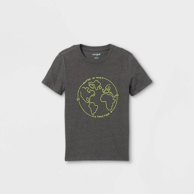 Boys' Earth Graphic Short Sleeve T-Shirt - Cat & Jack™ Charcoal Gray