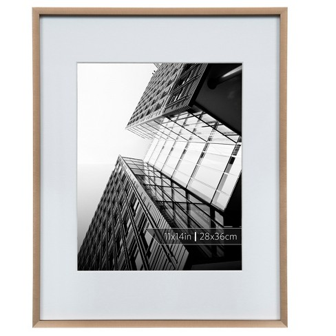"Burnes of Boston 8"" x 10"" Aluminum Gallery in Brushed Finish Matted Single Image Frame Bronze - image 1 of 6"