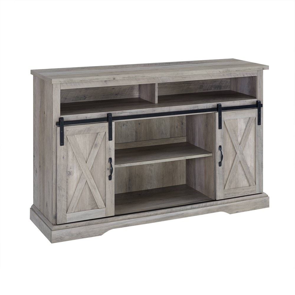 52 Modern Farmhouse TV Stand Gray Wash - Saracina Home