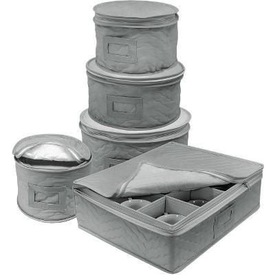 Sorbus 5pc Dish Storage Set Gray