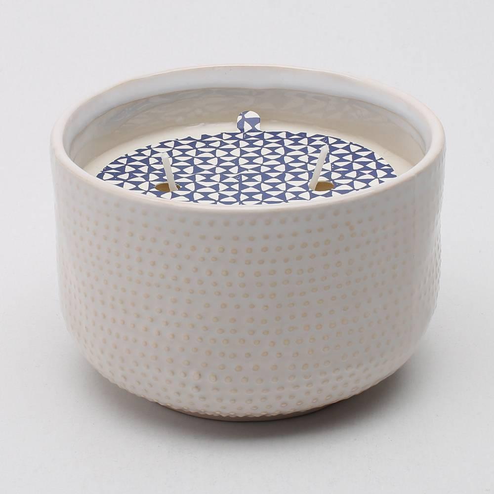 13.8oz Glazed Jar 2-Wick Candle Sunlit Sands - Threshold, White