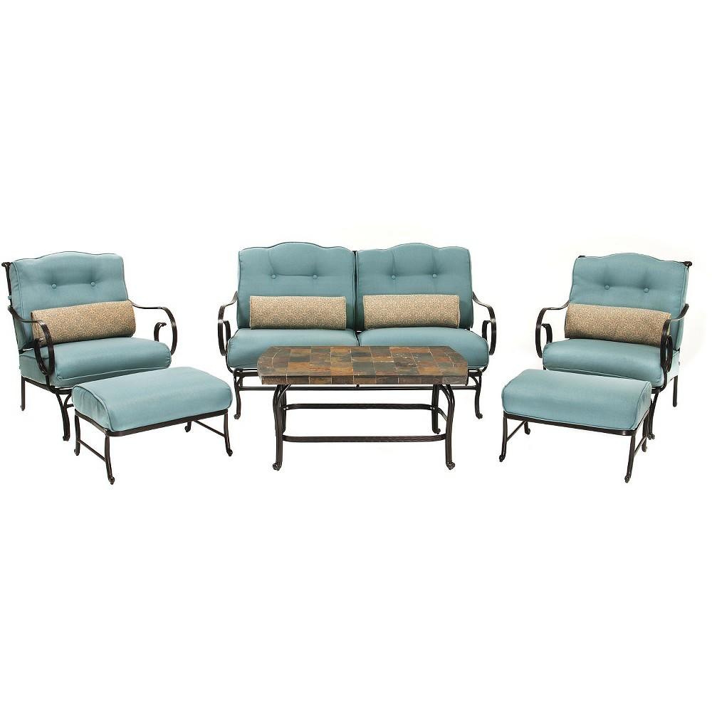 Oceana 6-Piece Metal Patio Conversation Furniture Set, Blue
