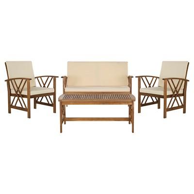 Mykonos 4-Pc Wood Patio Conversation Furniture Set - Brown - Safavieh®