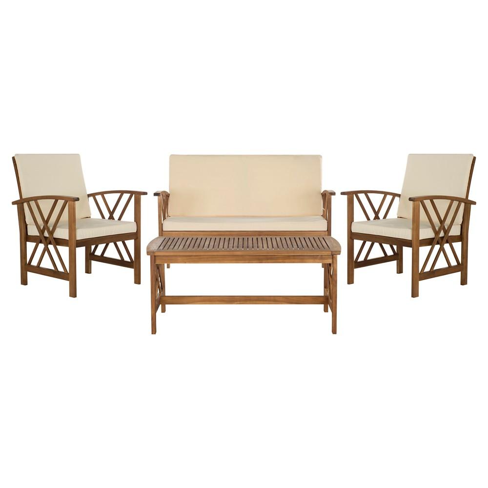 Mykonos 4 Pc Wood Patio Conversation Furniture Set Brown Safavieh