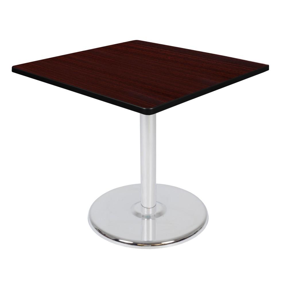 36 34 Via Square Platter Base Dining Table Mahogany Chrome Regency