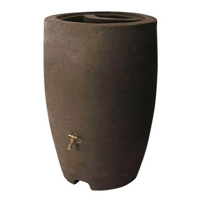 Algreen Athena 50 Gallon Plastic Rain Water Collection Drum Barrel, Brownstone
