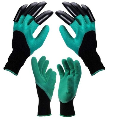 Waterproof Gardening Gloves with Hand Sturdy Claws, Breathable Fabric Design, Quick and Easy to Dig and Plant Safe for Rose Pruning, Fits Most Palms
