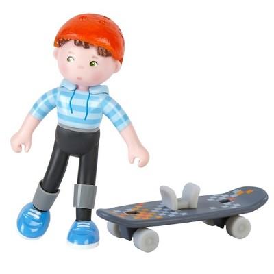 """HABA Little Friends Marc - 4"""" Boy Dollhouse Figure with Skateboard"""