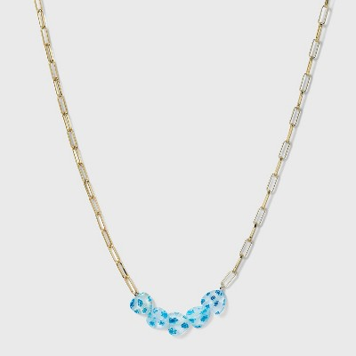 SUGARFIX by BaubleBar Floral Heart Link Chain Necklace - Blue