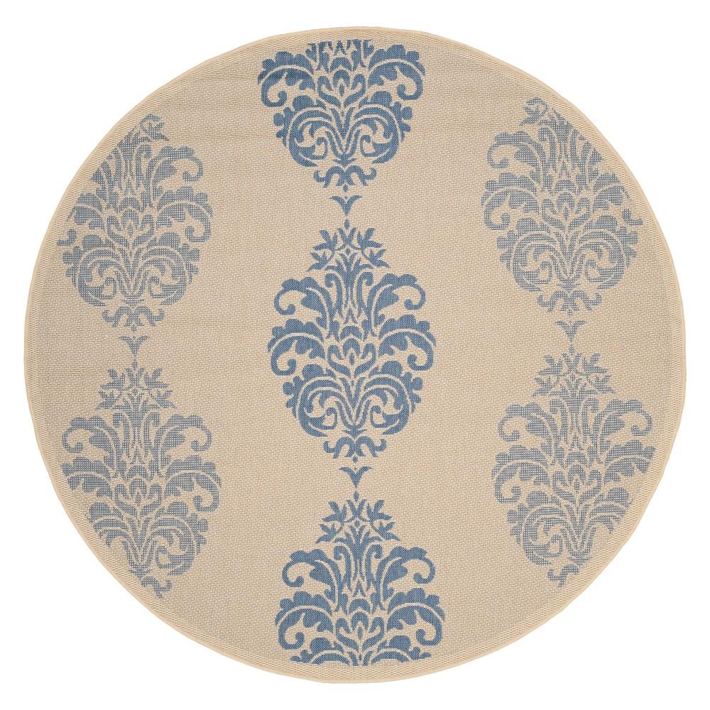 Orly Round 6'7 Patio Rug - Natural/Blue - Safavieh