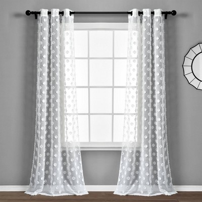 "Set of 2 (84""x38"") Textured Dot Grommet Sheer Window Curtain Panels - Lush Décor"