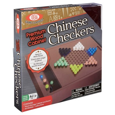 Ideal Premium Wood Cabinet Chinese Checkers Game