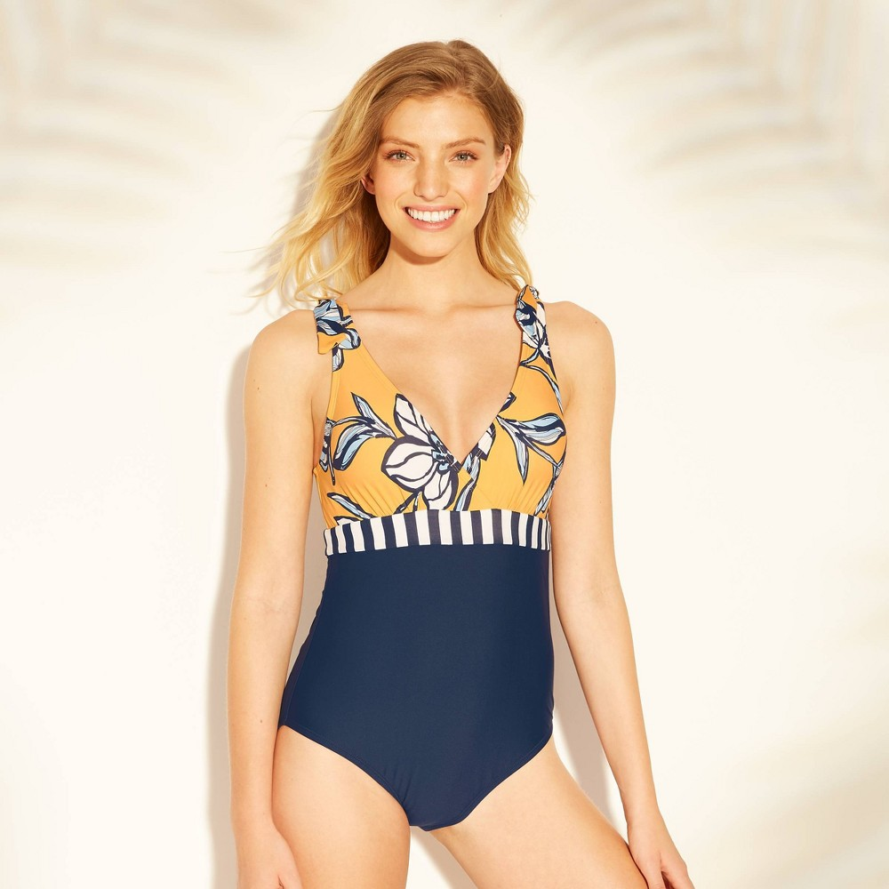 Women's Tie Shoulder One Piece Swimsuit - Sea Angel Yellow/Navy Floral L, Blue