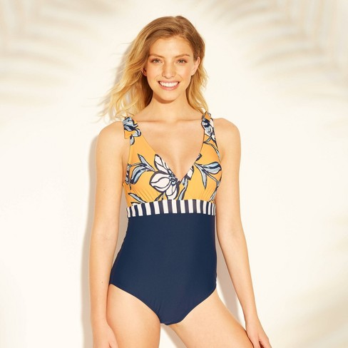 53a7bbeaae3 Women's Tie Shoulder One Piece Swimsuit - Sea Angel Yellow/Navy Floral.  Shop all Sea Angel