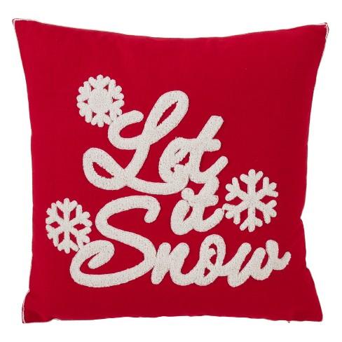 Let It Snow Square Throw Pillow Red - Saro Lifestyle - image 1 of 2