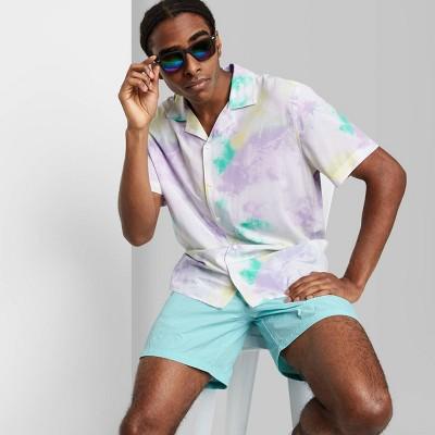 Men's Tie-Dye Regular Fit Short Sleeve Challis Collared Button-Down Shirt - Original Use™ White