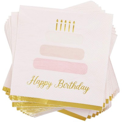 Blue Panda 50-Pack Happy Birthday Cake Disposable Paper Napkins 5 Inches Party Supplies