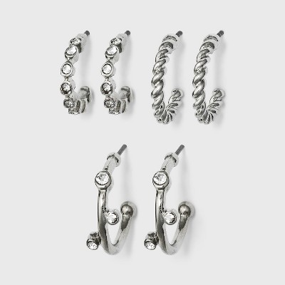 Metal Small Hoop Earring Set - A New Day™ Silver