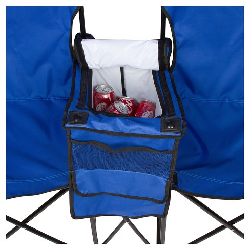 Trademark Innovation Double Folding Camp And Beach Chair With Removable Umbrella Cooler Carrying Case Blue Target