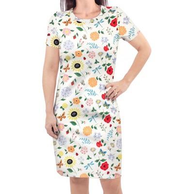 Touched by Nature Womens Organic Cotton Short-Sleeve Dress, Flutter Garden