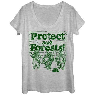 Women's Star Wars Ewok Protect Our Forests Scoop Neck