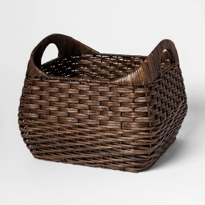 Small Basket with Curved Handles Brown 11 x13  - Threshold™