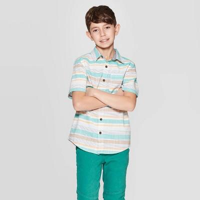1fb1a51f82570 Boys  Short Sleeve Striped Woven Button-Down Shirt - Cat   Jack™ Brown