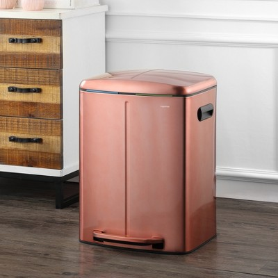happimess Marco Rectangular 10.5-Gallon Double Bucket Trash Can with Soft-Close Lid, Rose Gold