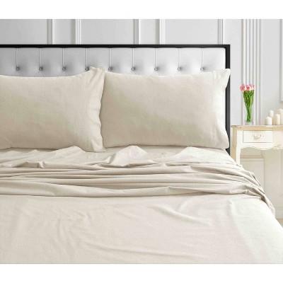 King Solid Extra Deep Pocket Ultra Soft Flannel Sheet Set Vanilla Latte - Tribeca Living