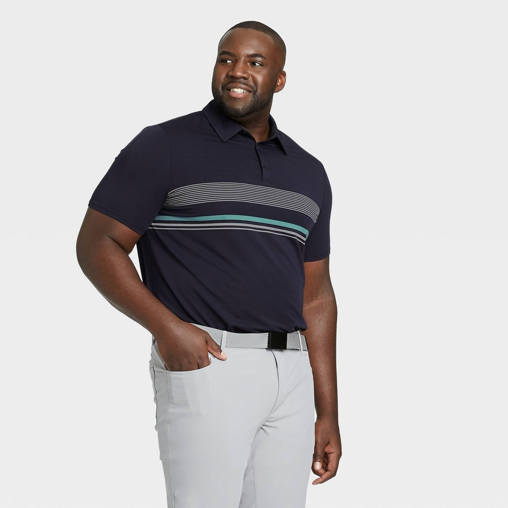 Men's Chest Stripe Golf Polo Shirt - All in Motion Navy S, Blue was $24.0 now $12.0 (50.0% off)