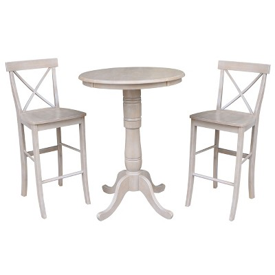3pc Solid Wood Round Pedestal Bar Height Table and 2 X Back Dining Sets Washed Gray Taupe ( Set) - International Concepts