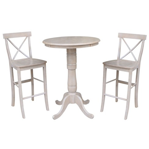 Solid Wood Round Pedestal Bar Height Table and 2 X Back Stools Washed Gray Taupe (3pc Set) - International Concepts - image 1 of 4