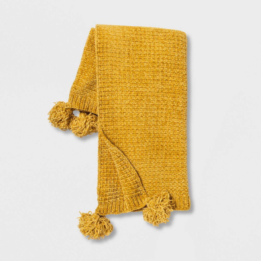 Shiny Chenille With Corner Tassels Throw Blanket Yellow - Opalhouse